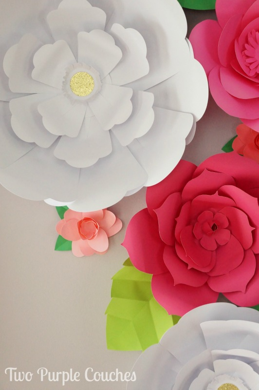 DIY Giant Paper Flower Backdrop - two purple couches