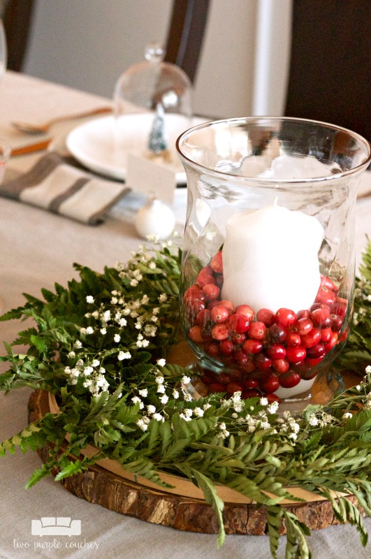 Easy DIY Christmas Centerpiece - two purple couches