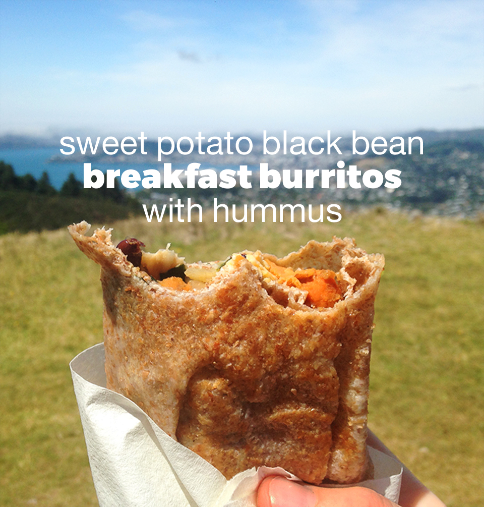 Sweet Potato Black Bean Breakfast Burritos with Hummus | Two Shakes of Happy