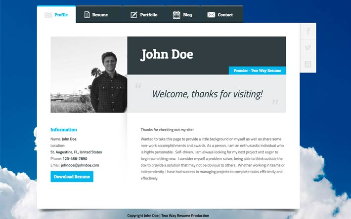 Create A Resume Website, Build A Personal Website  Portfolio