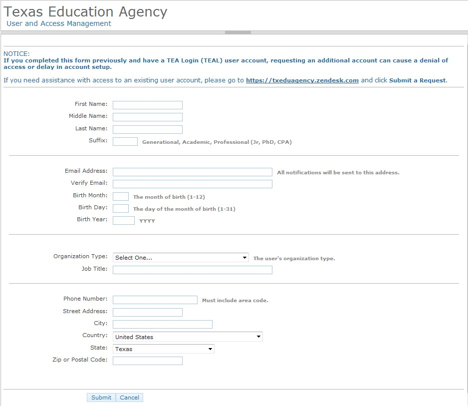 Create a TEAL User Account and Request Access to a Web Application - access request form