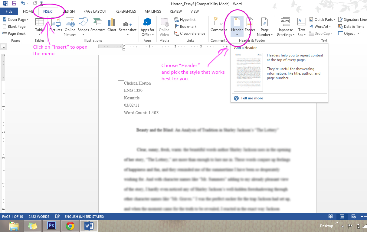 how to do mla header in word