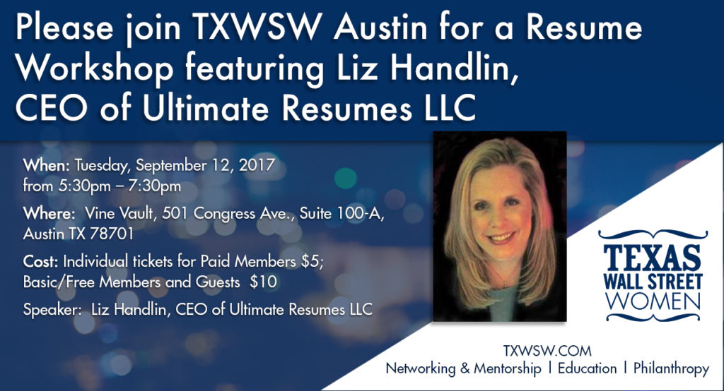 Please join TXWSW Austin for a Resume Workshop featuring Liz Handlin