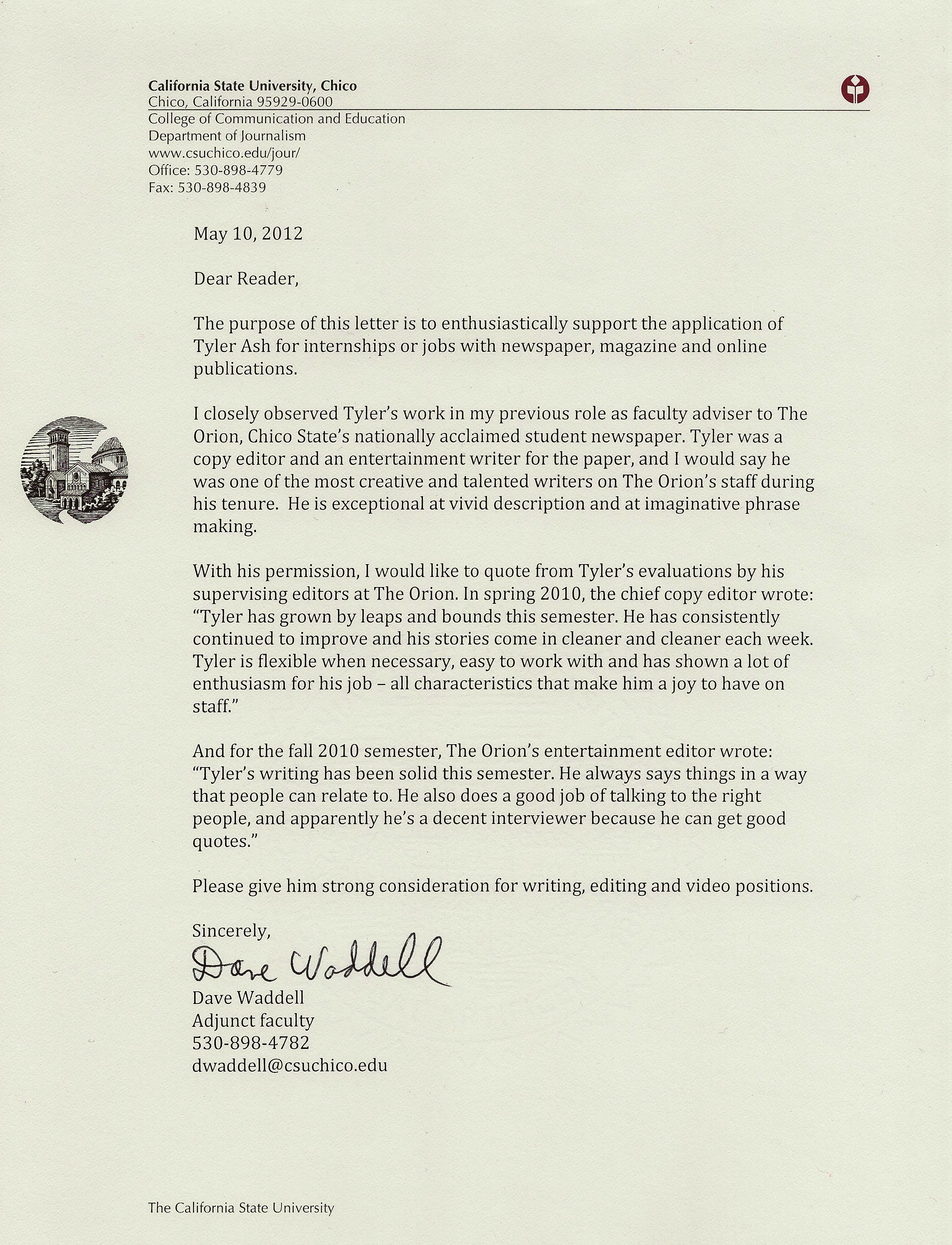 Sample Faculty Reference Letter Letter Of Recommendation From Former Faculty Advisor Of