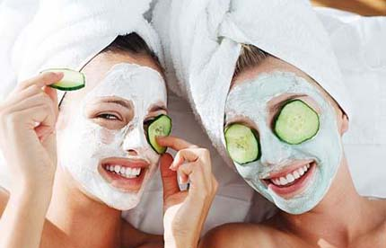 Women in facial masks