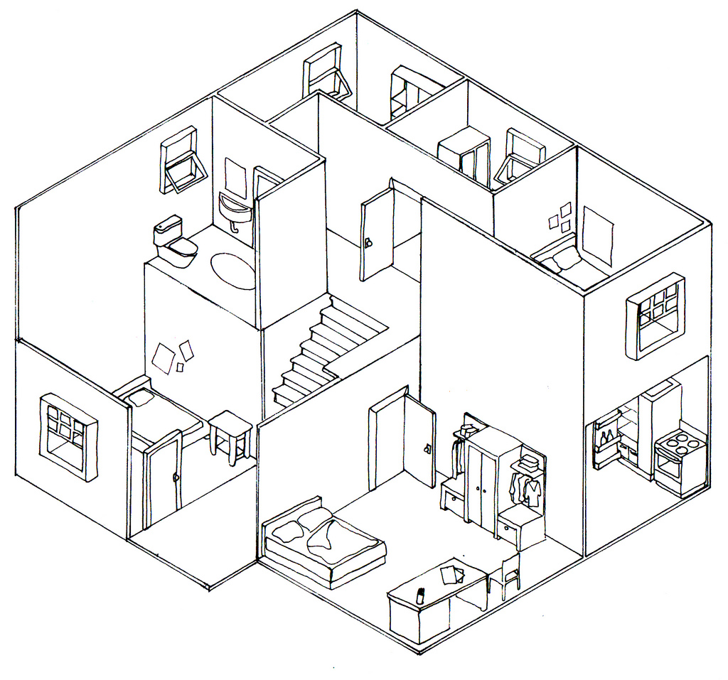 Drawing A Room Plan Plan Oblique And Isometric Technical Drawings