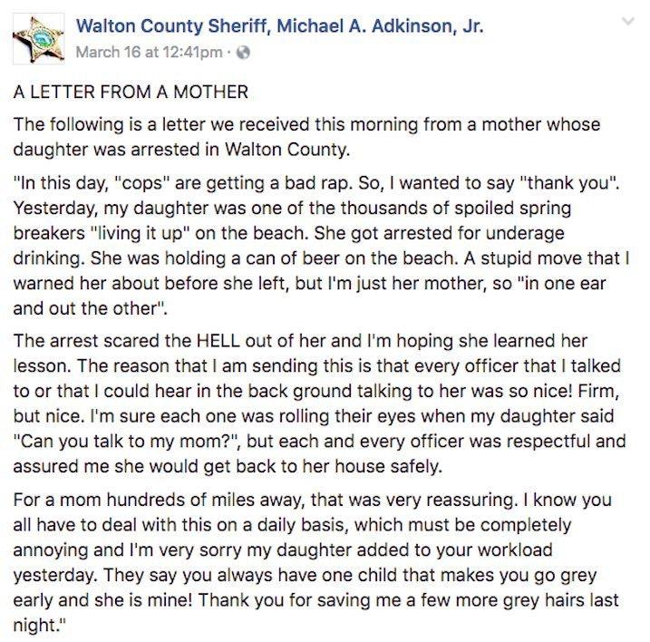 Mom Thanks Cops After Daughter\u0027s Spring Break Arrest