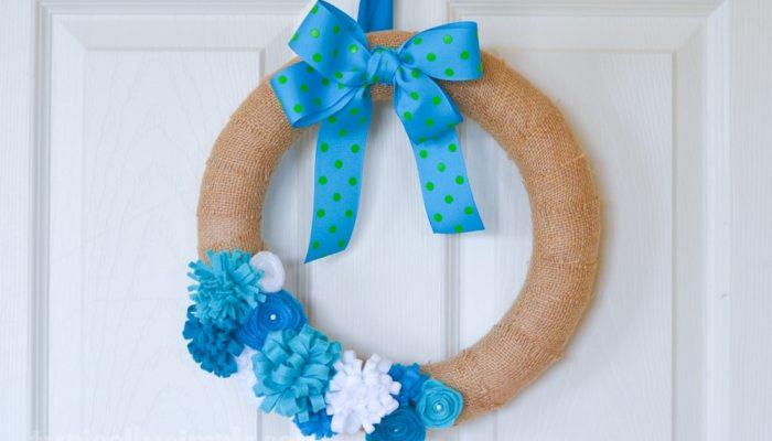 Felt Flower Burlap Wreath