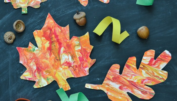 Marbled Paper Fall Leaves – Kids' Craft