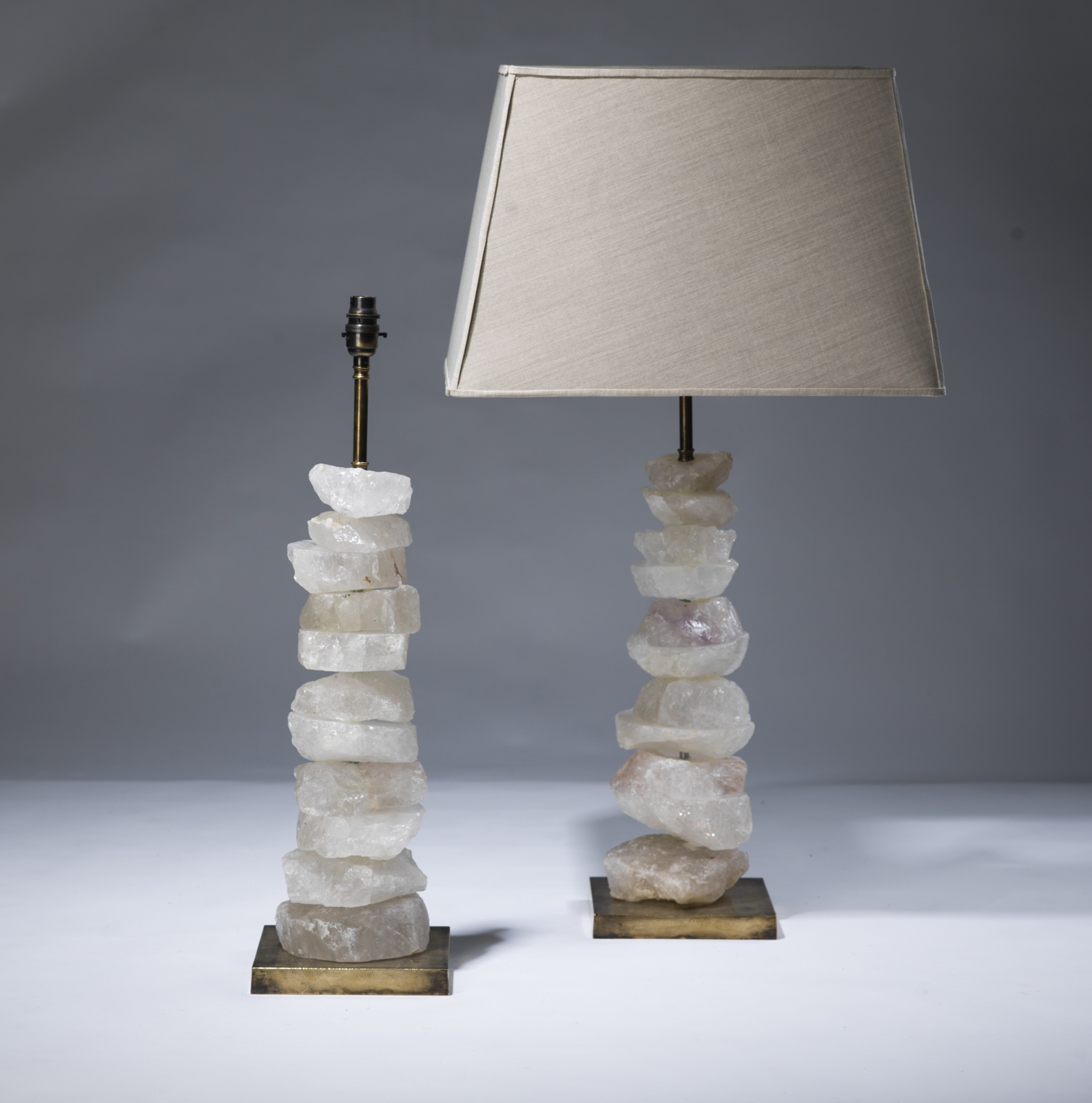 Crystal Stone Lamp Pair Of Medium Clear Rock Crystal 39chunk 39 Lamps On
