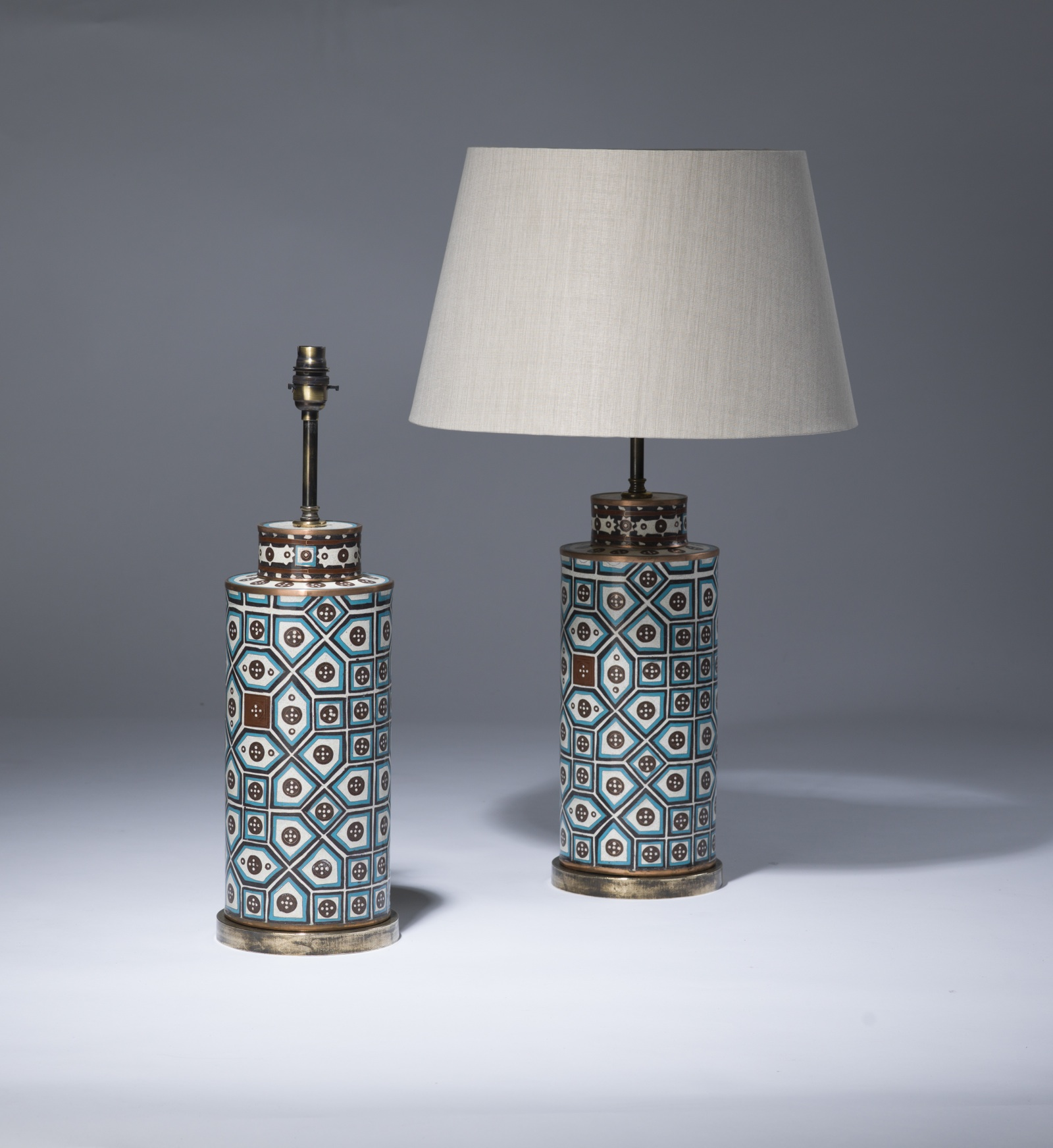 Pot Table Lamps Pair Of Medium Blue Brown Metal Pot Lamps On Distressed