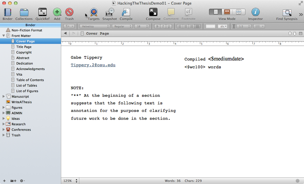 Scrivener Hacking the Thesis - Mla Format For Word