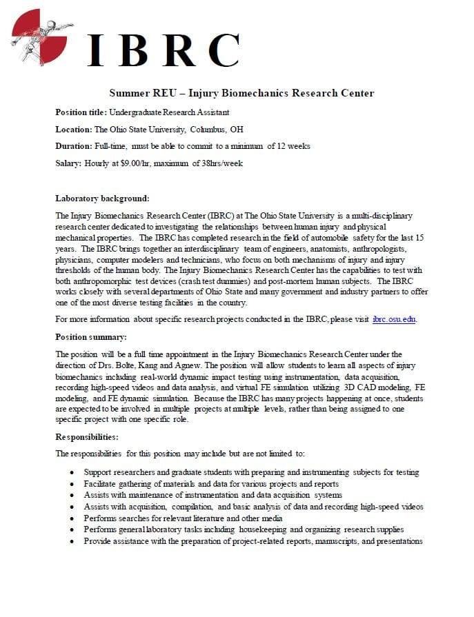Undergrad Research Assistant position in Biomechanics! HRS Student
