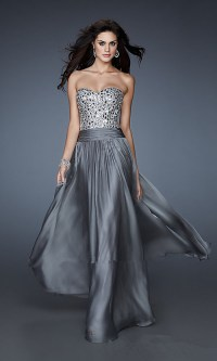 Beaded Top Long Gray Strapless Cheap Prom Dresses ...