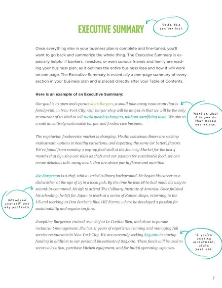 TouchBistro - The Ultimate Guide to Writing A Restaurant Business Plan - one page executive summary template