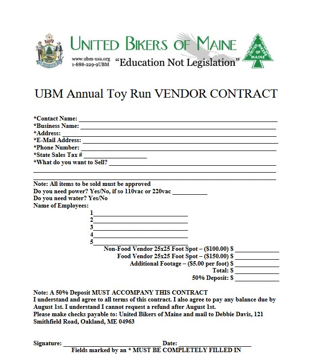 Toy Run Vendor United Bikers Of Maine - Protect your rights - Find