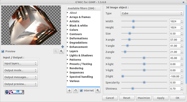 G'MIC 1.5.0.8 Come With 284 Effect And Image Filter For GIMP