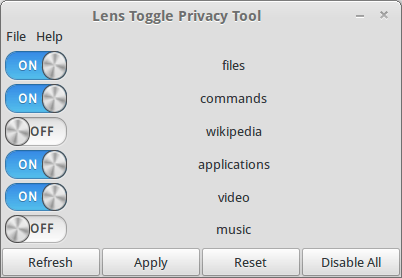 Lens Toggle Privacy Tool - Ubuntu 12.04 precise pangolin