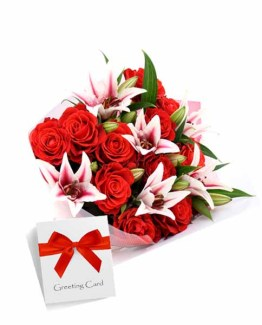 Red and Pink Bunch with Card