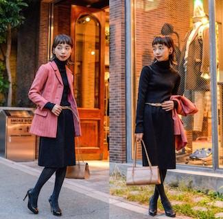 3ピンクのテーラードジャケット×黒タートル×ベルト