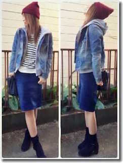 9デニムジャケット・Gジャン×パーカー×青タイトスカート