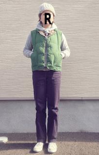 1緑のダウンベスト×白パーカー×紫デニム