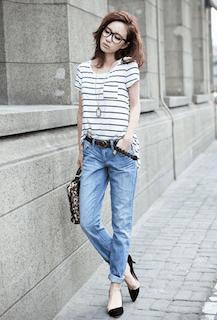 8ボーダーTシャツ×デニムパンツ