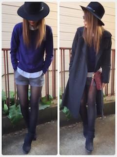 9黒のトレンチコート×ショートパンツ×セーター