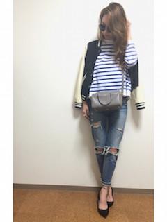 3黒のスタジャン×ボーダーTシャツ×ジーンズ