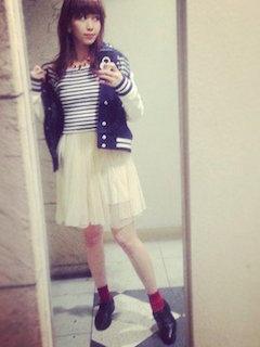 ボートネックTシャツ+チュールスカート