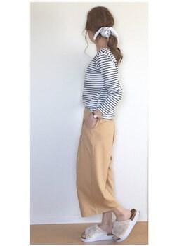 3ファースポサン×ボーダーTシャツ×ロングタイトスカート