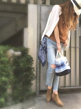 9スキッパーシャツ×ジーンズ×カーディガン