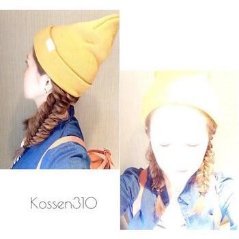 黄色ニット帽×フィッシュボーンツインテールのニット帽に合う髪型