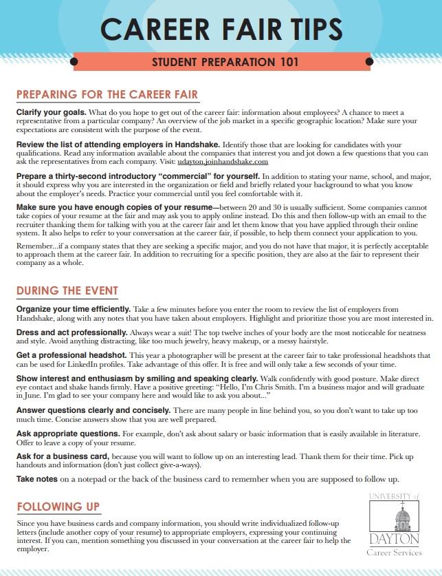 Career and Internship Fairs  University of Dayton, Ohio