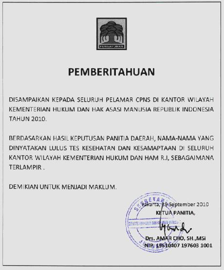 Hasil Seleksi Administrasi CPNS Tahun 2010 - Kemendag Terbaru Agustus
