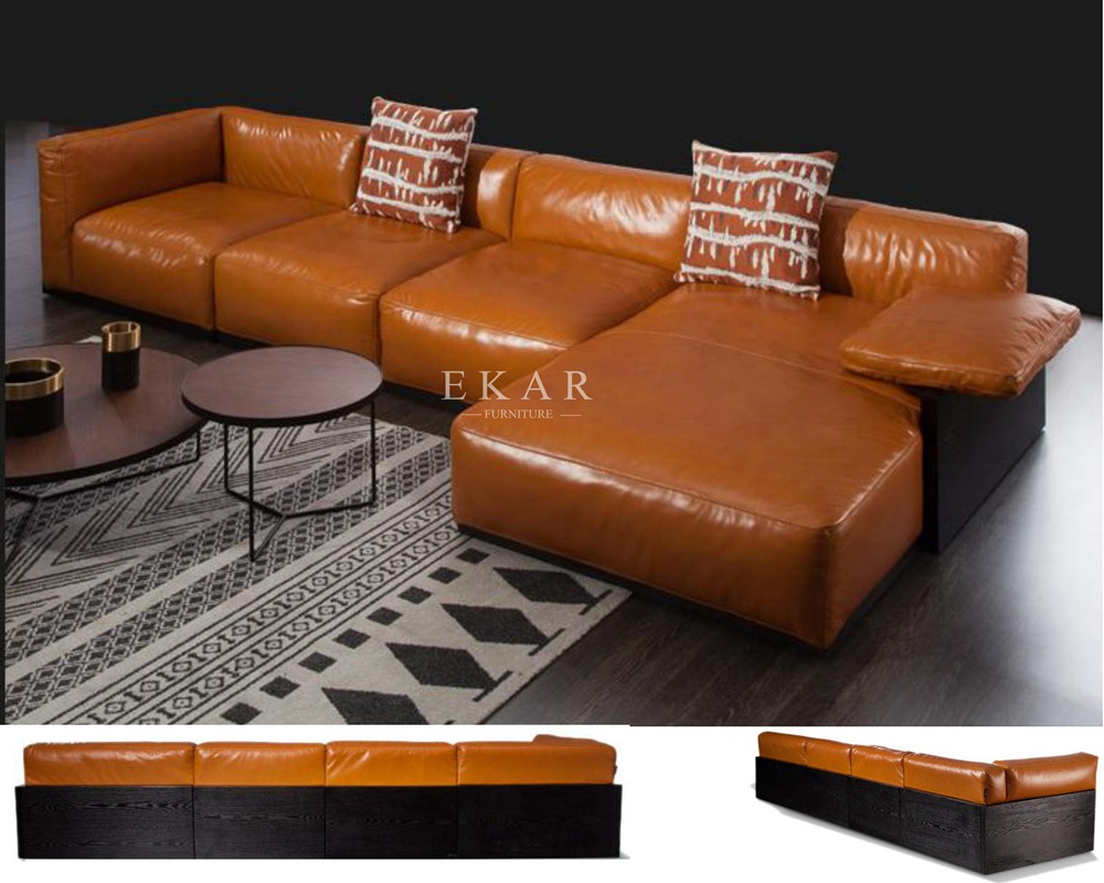 L Shaped Wooden Leather Upholstery Modern Corner Sofa