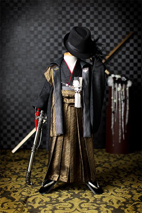 七五三の衣装コレクション 男の子(かっこいいヒョウ柄の羽織と袴)