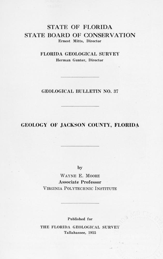Geology of Jackson County, Florida (FGS Bulletin 37)