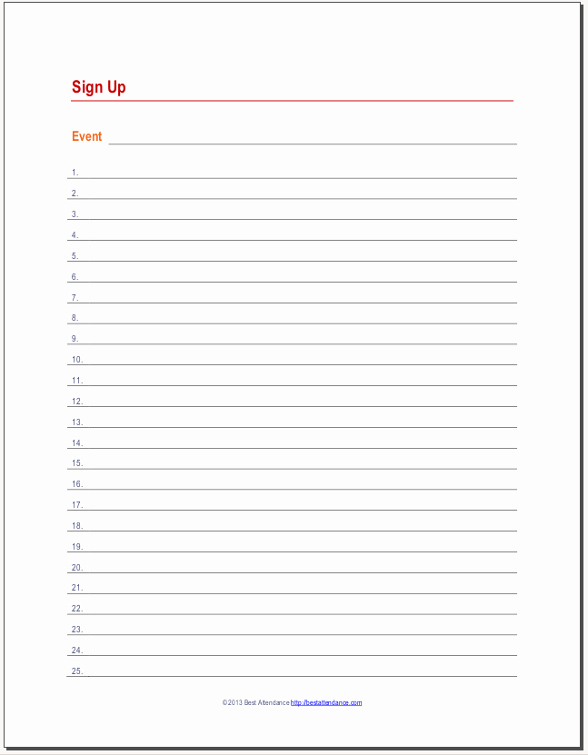 photo regarding Printable Sign Up Sheet named Blank Indicator Within just Sheet Printable