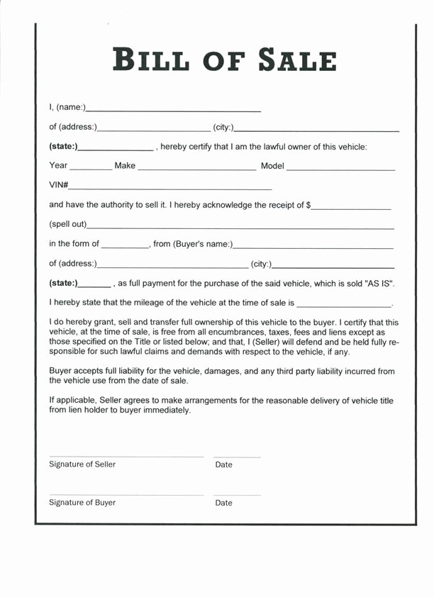 Form Of Bill Of Sale Awesome Free Printable Bill Sale form form