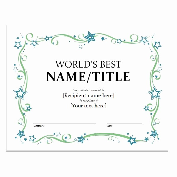 Microsoft Word Certificate Templates Free Unique Template