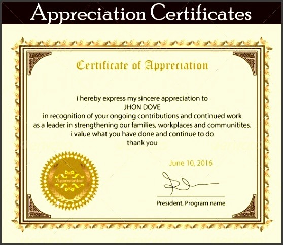 Sample Of Certification Of Appreciation Awesome 8 Printable