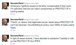 Screen shot of Harry Reid's Twitter feed regarding PIPA