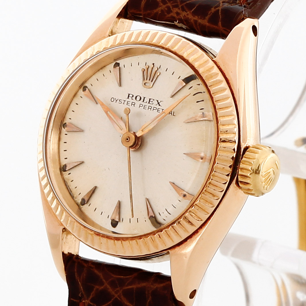 Rolex Oyster Perpetual Rose Gold Rolex Oyster Perpetual Lady 18 K Rose Gold With Leather Strap Ref 6619