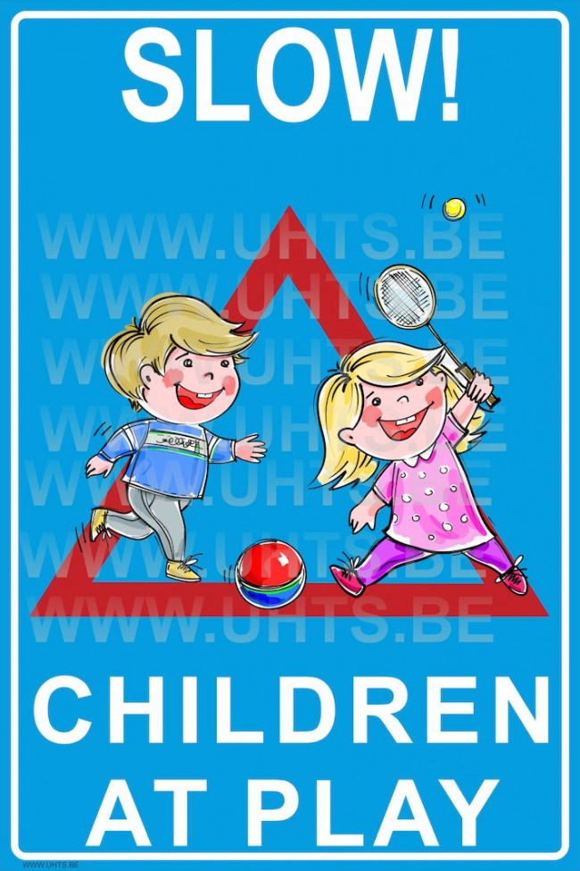 Bord Camerabewaking Slow! Children At Play 300x450 Mm, V3 Red-blue-white-triangle