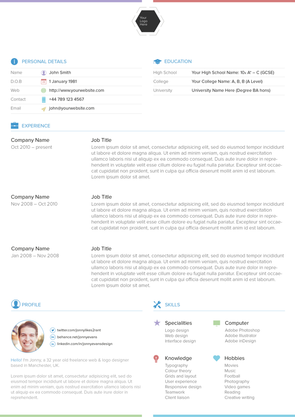 25 Best Free Professional CV (Resume) Templates 2014
