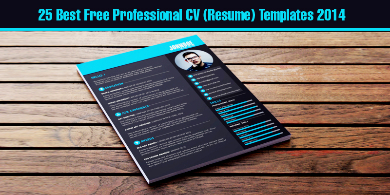 25 Best Free Professional CV (Resume) Templates 2014 - resume templates for designers