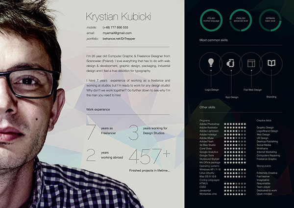 10 Free Resume-CV Templates Designs For Creative, Media, IT, Web and - graphic design resume template