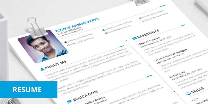 10 Free Simple  Clean Resume-CV Templates You Would Love to Download - free creative resume template