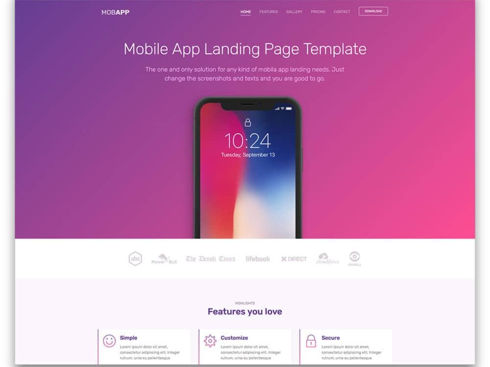27 Best Free Landing Page Templates 2018 - uiCookies - Free App Template